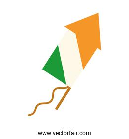 happy independence day india, celebration fireworks flag color flat style icon