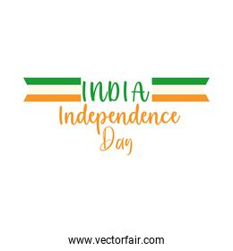 happy independence day india, calligraphy flag color national flat style icon