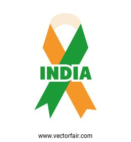 happy independence day india, ribbon with flag color country flat style icon