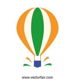 happy independence day india, hot air balloon with flag flat style icon