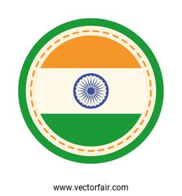 happy independence day india, badge with flag national emblem flat style icon