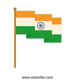 happy independence day india, waving flag national insignia flat style icon