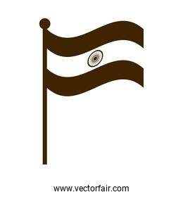 happy independence day india, flag in pole national symbol silhouette style icon