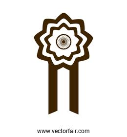 happy independence day india, rosette honor celebration silhouette style icon
