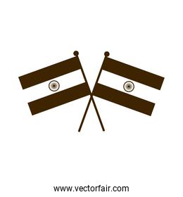 happy independence day india, crossed flags patriotic celebration silhouette style icon