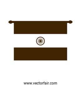 happy independence day india, flag traditional pendant silhouette style icon