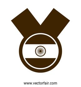 happy independence day india, national flag emblem design silhouette style icon