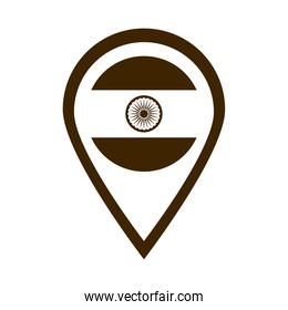 happy independence day india, flag location pointer silhouette style icon