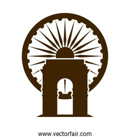 happy independence day india, indian gate monument and ashoka wheel honor silhouette style icon