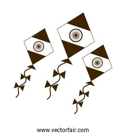 happy independence day india, kites with flag country symbol silhouette style icon