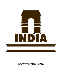 happy independence day india, monument indina gate landmark flag silhouette style icon