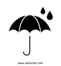 umbrella protection water isolated icon silhouette style icon