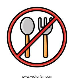 fork and spoon with forbidden sign line and fill style icon