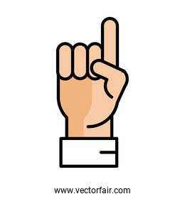 hand raised with index finger pointing line and fill style icon