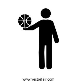 basketball game, player with ball equipment recreation sport silhouette style icon