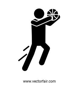 basketball game, sportsman training recreation sport silhouette style icon