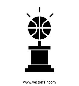 basketball game, trophy with ball equipment recreation sport silhouette style icon