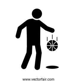 basketball game, player bouncing ball recreation sport silhouette style icon