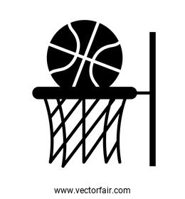 basketball game, ball in hoop recreation sport silhouette style icon