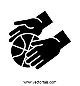 basketball game, hands with ball recreation sport silhouette style icon