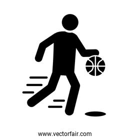 basketball game, player with ball running recreation sport silhouette style icon