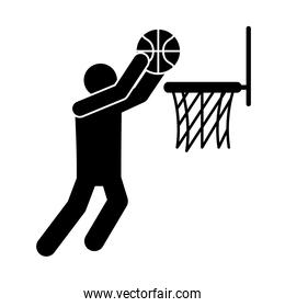basketball game, player shooting in hoop recreation sport silhouette style icon