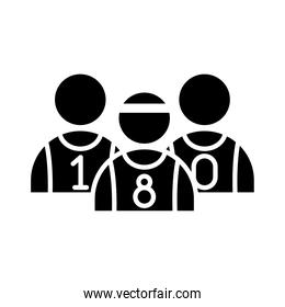 basketball game, team players recreation sport silhouette style icon
