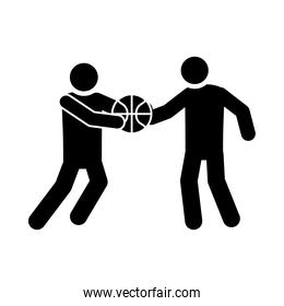 basketball game, players with ball recreation sport silhouette style icon