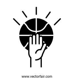 basketball game, hand with ball equipment recreation sport silhouette style icon