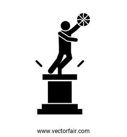basketball game, trophy player with ball award recreation sport silhouette style icon