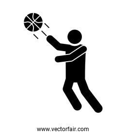 basketball game, player throws ball recreation sport silhouette style icon