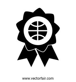 basketball game, rosette medal recreation sport silhouette style icon