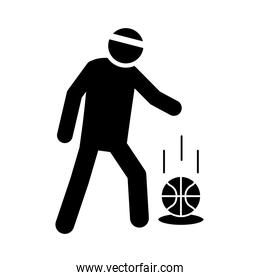 basketball game, player with ball tournament recreation sport silhouette style icon