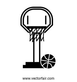 basketball game, net hoop and ball equipment recreation sport silhouette style icon