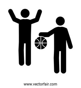 basketball game, team with ball recreation sport silhouette style icon