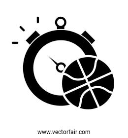 basketball game, ball and chronometer recreation sport silhouette style icon