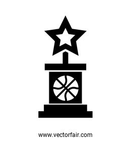 basketball game, award trophy star equipment recreation sport silhouette style icon