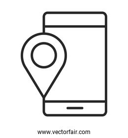 mobile phone or smartphone gps navigation pointer location electronic technology device line style icon