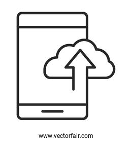 mobile phone or smartphone cloud storage data upload arrow, electronic technology device line style icon