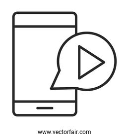 mobile phone or smartphone video play button electronic technology device line style icon