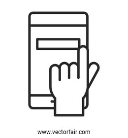 mobile phone or smartphone display clicking electronic technology device line style icon