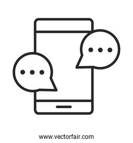 mobile phone or smartphone speech bubble chat electronic technology device line style icon