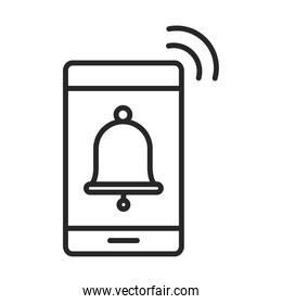 mobile phone or smartphone notification alarm electronic technology device line style icon