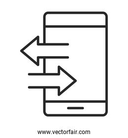 mobile phone or smartphone trasnfer data electronic technology device line style icon