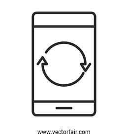 mobile phone or smartphone reload arrows, electronic technology device line style icon