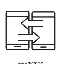 mobile phone or smartphones connection transfer electronic technology device line style icon
