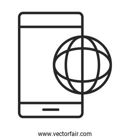 mobile phone or smartphone world connection electronic technology device line style icon
