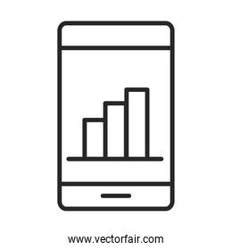 mobile phone or smartphone report statistics business, electronic technology device line style icon