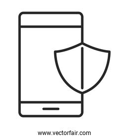mobile phone or smartphone shield protection, electronic technology device line style icon