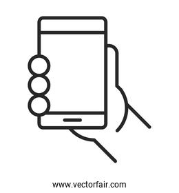 hand with mobile phone or smartphone electronic technology device line style icon